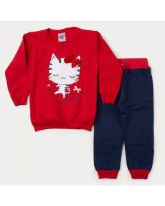 Conjunto de Inverno Infantil Feminino Blusa Vermelha Gatinho e Calça Marinho