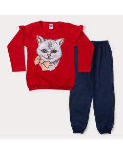 Conjunto de Inverno Infantil Feminino Blusa Vermelha Gato e Calça Marinho