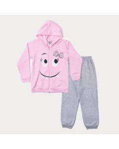 Conjunto de Inverno Infantil Feminino Jaqueta Rosa Monstrinho e Calça Cinza