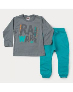 Conjunto de Inverno Infantil Masculino Blusa Cinza Estampada e Calça Verde