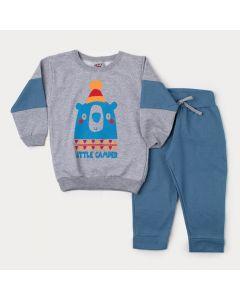 Conjunto de Inverno Infantil Masculino Blusa Cinza Urso e Calça Azul