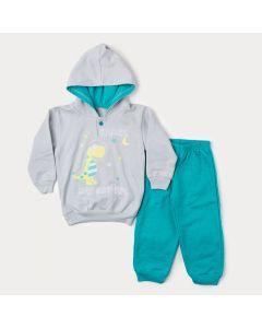 Conjunto de Inverno Infantil Masculino Casaco Cinza Dinossauro e Calça Verde