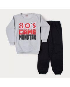 Conjunto de Inverno Infantil Masculino Casaco Cinza Game e Calça Preta