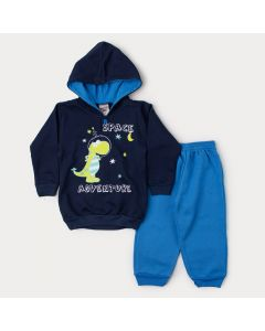 Conjunto de Inverno Infantil Masculino Casaco Marinho Dinossauro e Calça Azul