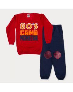 Conjunto de Inverno Infantil Masculino Casaco Vermelho Game Calça Marinho