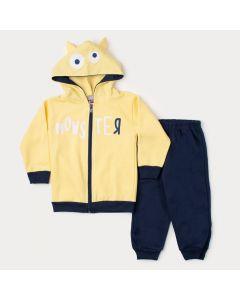 Conjunto de Inverno Infantil Masculino Jaqueta Amarela Estampada e Calça Marinho