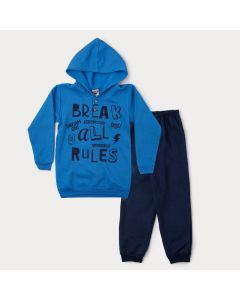 Conjunto de Inverno Infantil Masculino Jaqueta Azul Estampada e Calça Marinho