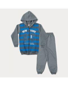 Conjunto de Inverno Infantil Masculino Jaqueta Azul Listrada e Calça Cinza
