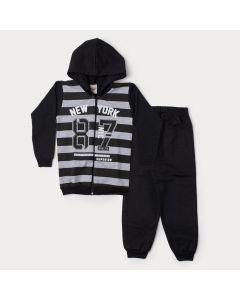 Conjunto de Inverno Infantil Masculino Jaqueta Cinza Listrada e Calça Preta