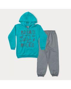 Conjunto de Inverno Infantil Masculino Jaqueta Verde Estampada e Calça Cinza