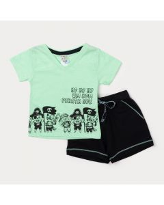 Conjunto para Bebê Menino Camiseta Verde Estampada e Bermuda Preta