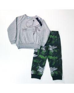 Conjunto de Moletom para Menino Casaco Cinza Dino e Calça Verde Estampada