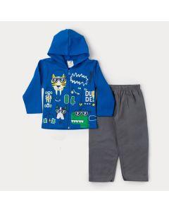 Conjunto de Moletom para Menino Jaqueta Azul com Capuz Estampada e Calça Chumbo