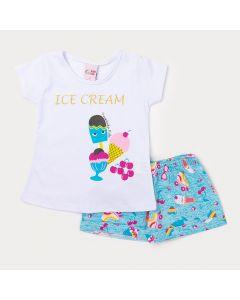 Conjunto Infantil Feminino Short Azul Estampado e Blusa Branca Sorvete