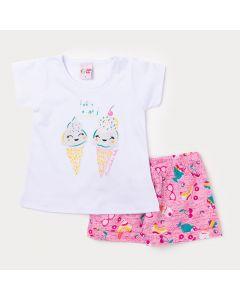 Conjunto Infantil Feminino Blusa Branca Sorvete e Short Rosa Estampado