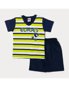 Conjunto Masculino Infantil Camiseta Listrada e Bermuda Azul Marinho