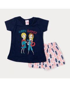 Conjunto Infantil Feminino com Blusa Azul Marinho e Short Branco Estampado