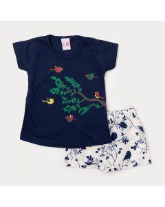 Conjunto de Roupa de Menina Short Branco Estampado e Blusa Azul Marinho
