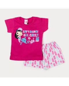 Conjunto Short  Infantil Feminino Estampado e Blusa Pink