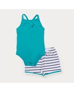 Conjunto de Roupa para Bebê Feminino Body Verde e Short Listrado