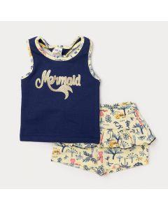 Conjunto de Roupa para Bebê Feminino Regata Azul Marinho Estampada e Short Amarelo