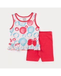 Conjunto de Roupa para Menina Bebê Regata Rosa Estampada e Short Vermelho
