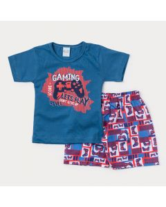 Conjunto Duas Peças Infantil Masculino Blusa Azul Game e Bermuda Estampada