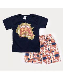 Conjunto Duas Peças Infantil Masculino Blusa Marinho Game e Bermuda Laranja Estampada