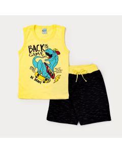 Conjunto Infantil Masculino Regata Amarela Dino e Short Preto Moletinho