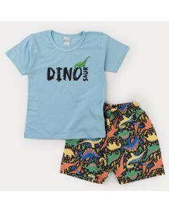 Conjunto com Blusa Azul Dinossauro e Bermuda Estampada Preta para Menino