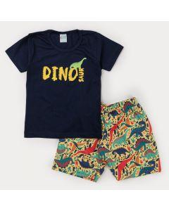 Conjunto com Blusa Marinho Dinossauro e Bermuda Estampada Amarela para Menino
