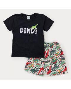 Conjunto com Blusa Preta Dinossauro e Bermuda Estampada Branca para Menino