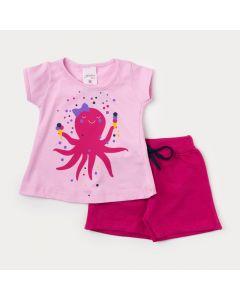 Conjunto de Bebê Feminino Short Pink e Blusa Rosa com Estampa de Polvo