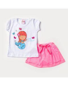 Conjunto de Verão para Menina Blusa Branca Sereia e Short Saia Pink Listrado