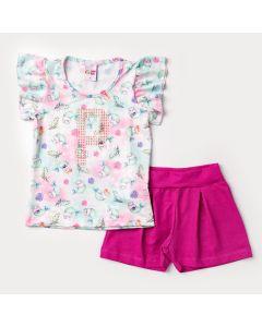 Conjunto Curto para Menina Blusa Estampada Sereia e Short Pink Básico