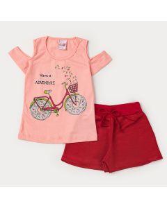 Conjunto Curto Menina Blusa Salmão Bicicleta e o Short Vermelho Moletinho