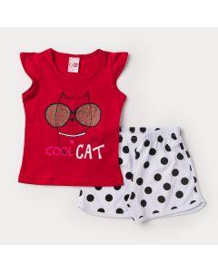 Conjunto de Verão para Menina Regata Vermelha Gato e Short Branco de Bolinhas Pretas