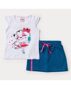 Conjunto de Verão para Menina Blusa Branca Gatinho e Short Saia Azul