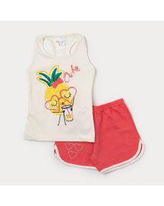 Conjunto Feminino Infantil Regata Marfim Estampada e Short Vermelho