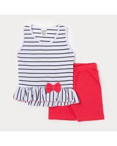 Conjunto Feminino Infantil Regata Branca Listrada com Laço e Short Vermelho