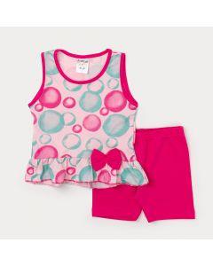 Conjunto Feminino Infantil Regata Rosa de Bolinha e Short Pink