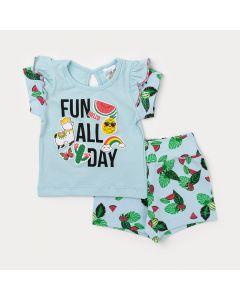 Conjunto Feminino para Bebê Blusa Azul com Abertura nas Costas e Short Estampado