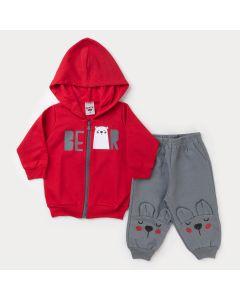 Conjunto de Frio para Bebê Menino Jaqueta Vermelha Urso e Calça Cinza