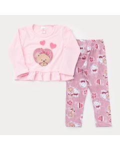 Conjunto de Frio para Menina Blusa Rosa Manga Longa Urso e Legging Estampada