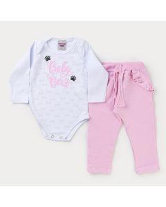 Conjunto de Frio Bebê Menina Body Branco Estampado e Calça Rosa com Babado