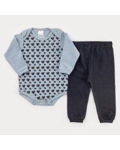 Conjunto de Inverno para Bebê Menina Body Manga Longa Cinza Coração e Calça Preta