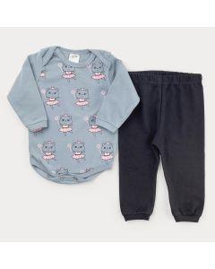 Conjunto de Frio para Bebê Menina Body Manga Longa Cinza Ursinho e Calça Preta