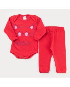 Conjunto de Inverno Vermelho para Bebê Menina Body Gatinho e Calça Básica