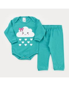 Conjunto de inverno para Bebê Menina Body Verde Nuvenzinha e Calça Básica