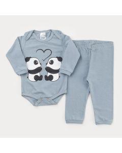 Conjunto Cinza de Inverno para Bebê Menina Body Manga Longa Panda e Calça Básica